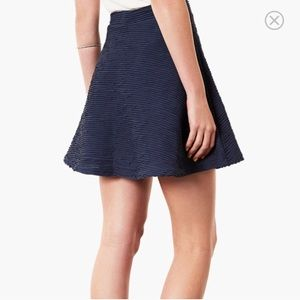 Topshop Navy Textured Skater Skirt